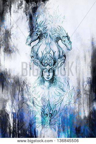 Man in mystic fire and ornamental dragons, pencil sketch on paper, blue vinter effect