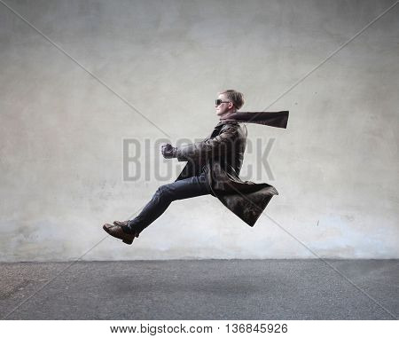 Man driving an invisible car