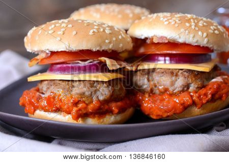Ajvar Salad And Beef Burger