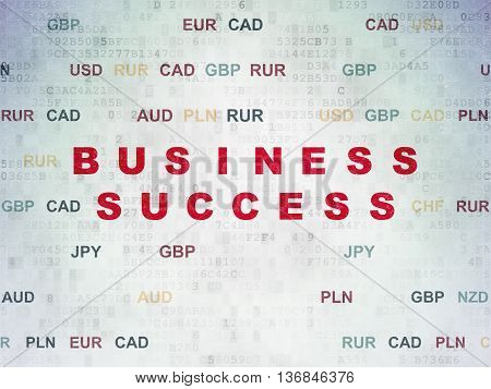 Business concept: Painted red text Business Success on Digital Data Paper background with Currency