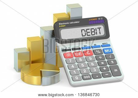 Debit concept 3D rendering isolated on white background