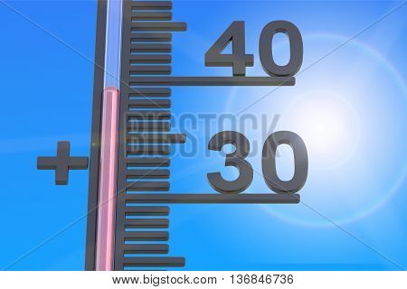 Heat concept 3D rendering on blue background