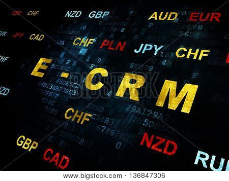 Business concept: Pixelated yellow text E-CRM on Digital wall background with Currency