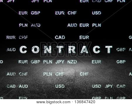 Finance concept: Glowing text Contract in grunge dark room with Dirty Floor, black background with Currency