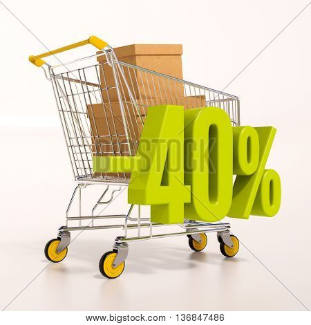 3d render: shopping cart and green 40 percentage discount sign on white