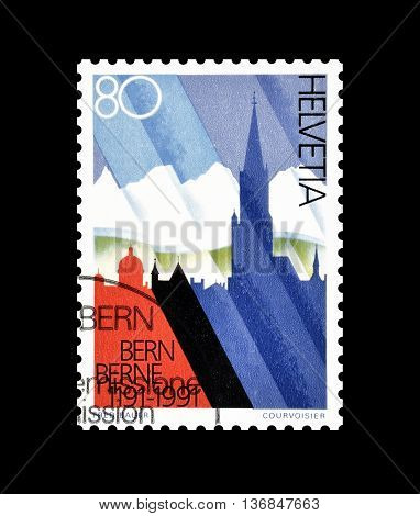 SWITZERLAND - CIRCA 1991 : Cancelled postage stamp printed by Switzerland, that shows Silhouette of Bern and Berner Alps.