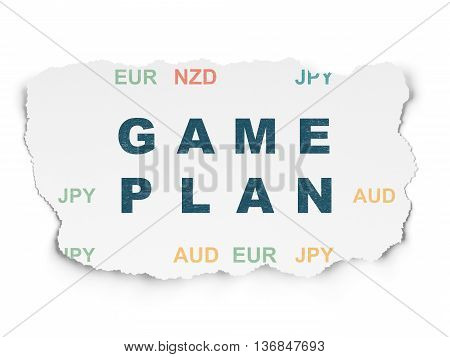 Business concept: Painted blue text Game Plan on Torn Paper background with  Currency
