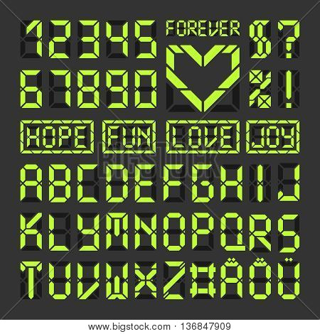 Digital led font letters and numbers. Acid green latin alphabet on black. Heart symbol and some sample words.