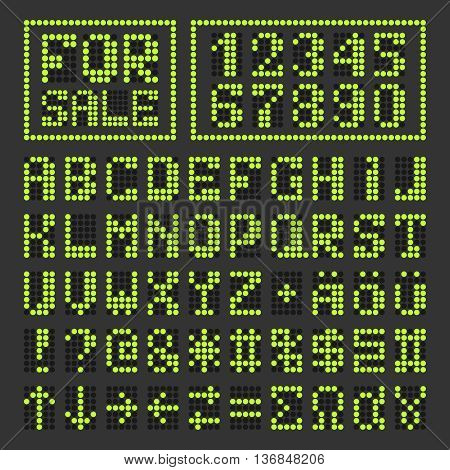 Dotted digital led font. Acid green alphabet letters and numbers on black. Special vector characters included.