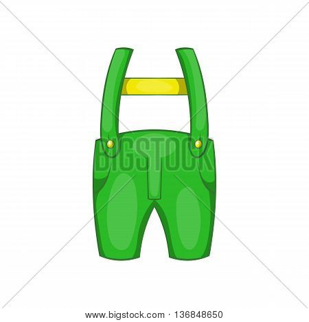 Pants with suspenders icon in cartoon style isolated on white background. Clothing symbol