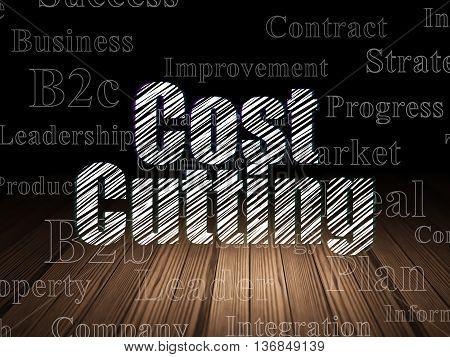 Business concept: Glowing text Cost Cutting in grunge dark room with Wooden Floor, black background with  Tag Cloud