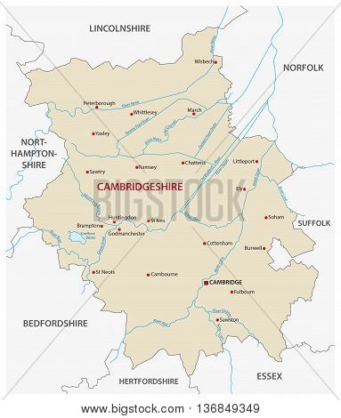 vector map of the county cambridgeshire, england