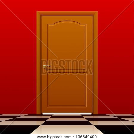Brown closed door with red wall and glossy chess floor. Interior concept design