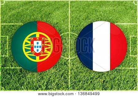 Portugal vs France icons at football field background