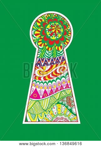 Hand drawn doodle, zentangle in a shape of colored keyhole.