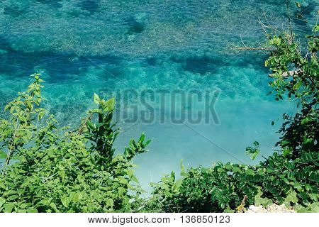 Aerial view of tropical forest, empty white sand beach and vivid blue sea reef in Bali, Indonesia.