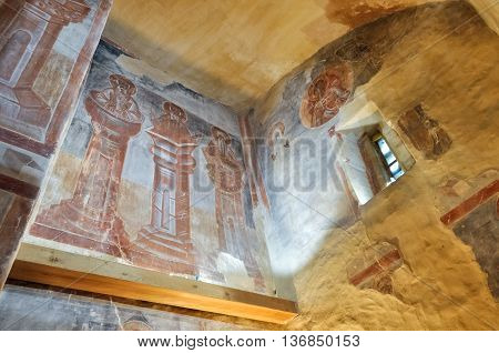 VELIKY NOVGOROD RUSSIA-JULY 1 2016. Stylites - Trinity Chapel frescoes in the choir of Our Savior church on Ilyin street. Frescoes painting by Theophanes the Greek famous icon painter.