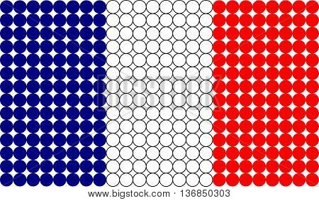 Abstract dotted France flag made from small dots.