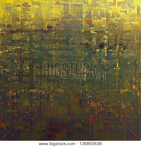 Vintage texture or antique background with grunge decorative elements and different color patterns: yellow (beige); brown; blue; green; red (orange); purple (violet)