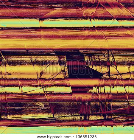 Old style decorative composition or designed vintage template with textured grunge elements and different color patterns: yellow (beige); brown; red (orange); purple (violet); cyan; pink