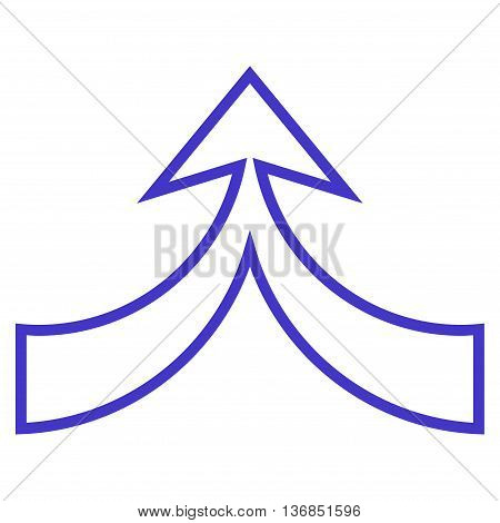 Unite Arrow Up vector icon. Style is outline icon symbol, violet color, white background.