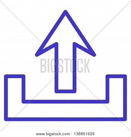 Upload vector icon. Style is thin line icon symbol, violet color, white background.