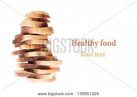 Pile of slices of toast white bread with a crispy crust on a white background. Isolated. Concept art. Food background.
