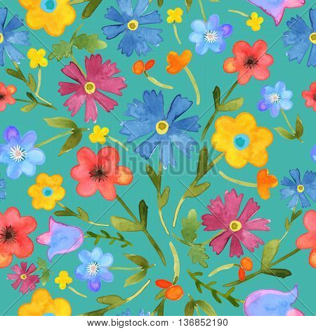 Seamless floral  background. Isolated colorful field flowers drawn watercolor on green blue. Vector.