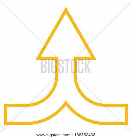 Combine Arrow Up vector icon. Style is contour icon symbol, yellow color, white background.