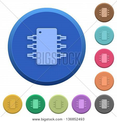 Set of round color embossed integrated circuit buttons