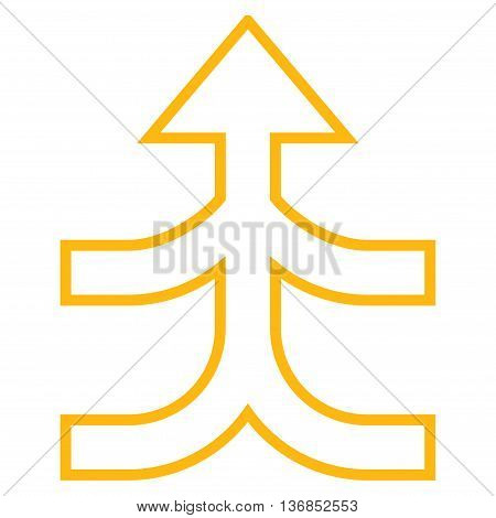 Combine Arrow Up vector icon. Style is stroke icon symbol, yellow color, white background.