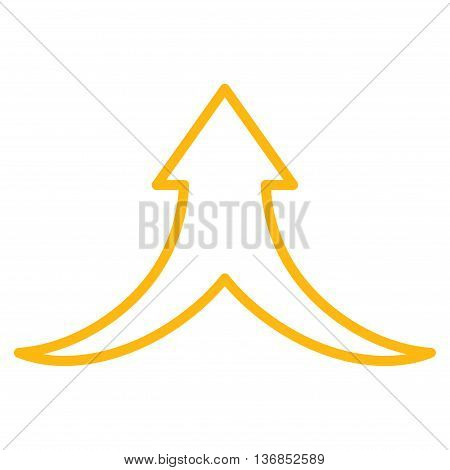 Combine Arrow Up vector icon. Style is outline icon symbol, yellow color, white background.