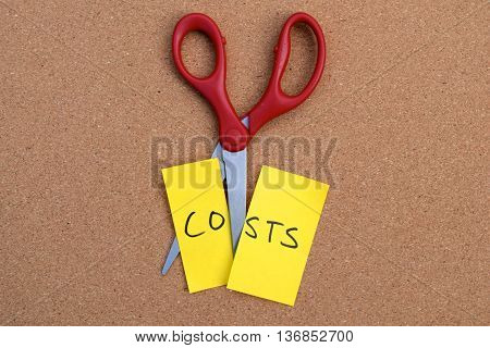 saving money but cutting costs with scissors concept