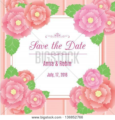 Save the date floral wedding invitation in pink colors with briar roses. Vector design template with rosehips