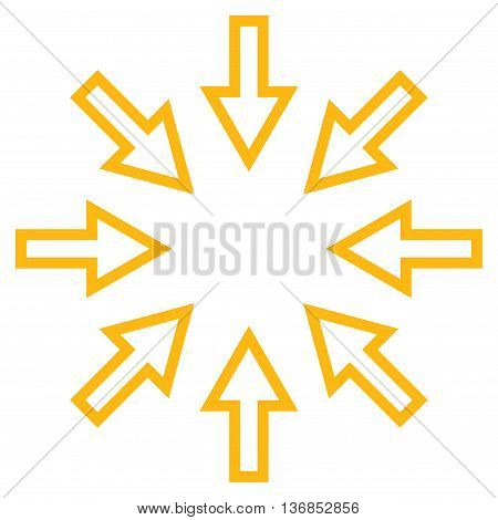 Compact Arrows vector icon. Style is stroke icon symbol, yellow color, white background.