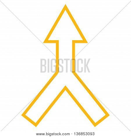 Connect Arrow Up vector icon. Style is contour icon symbol, yellow color, white background.