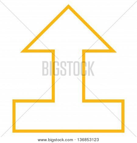 Connect Arrow Up vector icon. Style is outline icon symbol, yellow color, white background.