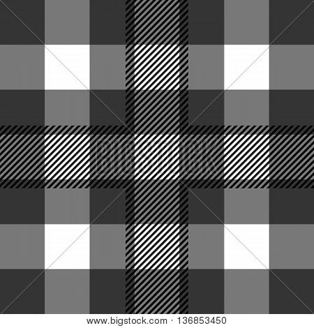 Seamless tartan pattern. repeated plaid twill tile texture. black and white palette vector illustration.