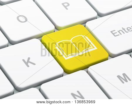 Science concept: computer keyboard with Book icon on enter button background, selected focus, 3D rendering