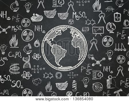 Science concept: Chalk White Globe icon on School board background with  Hand Drawn Science Icons, School Board