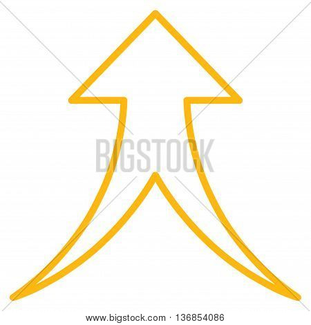 Merge Arrow Up vector icon. Style is stroke icon symbol, yellow color, white background.