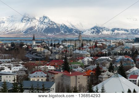 View of the capital city of Iceland, Reykjavik from Perlan