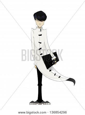 Programmer, coder, hacker, designer in long white cloak with laptop in hand. Manga style. Vector illustration on white background