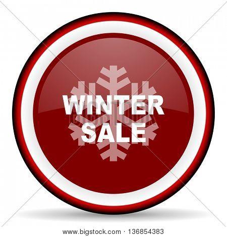 winter sale round glossy icon, modern design web element