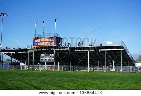 OSWEGO, ILLINOIS / UNITED STATES - MAY 2, 2016: The Ken Pickerill Stadium, at Oswego High School, hosts high school and middle school athletic events.