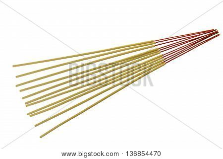 close-up of incense sticks isolated on white