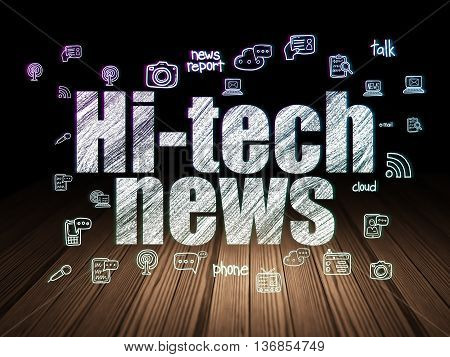 News concept: Glowing text Hi-tech News,  Hand Drawn News Icons in grunge dark room with Wooden Floor, black background