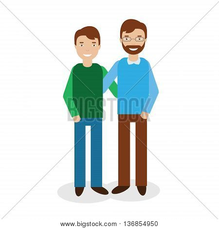 Smiling Father with Son two brothers isolated on white background. Happy family theme vector illustration