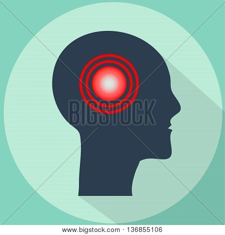 Headache migraine vector illustration with long shadow. Pain pulsing in shape of human head