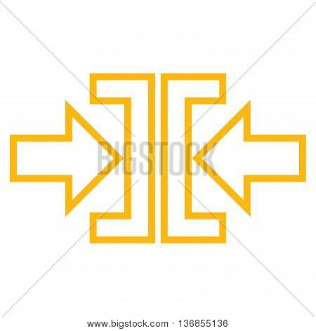 Pressure Arrows Horizontal vector icon. Style is contour icon symbol, yellow color, white background.